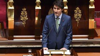 Devant l'Assemblée nationale, Justin Trudeau tient un discours de consensus