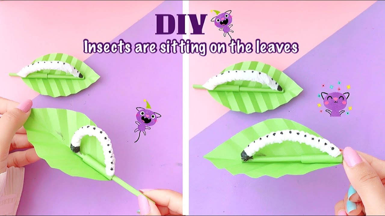 DIY Insect's are sitting on the leaves | how to make | paper crafts idea | Satisfying #Shorts