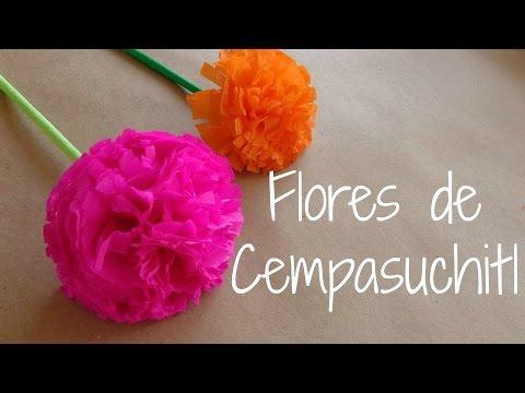 Flores de cempasuchitl flores de papel crepe dia de - Como se hacen flores de papel ...