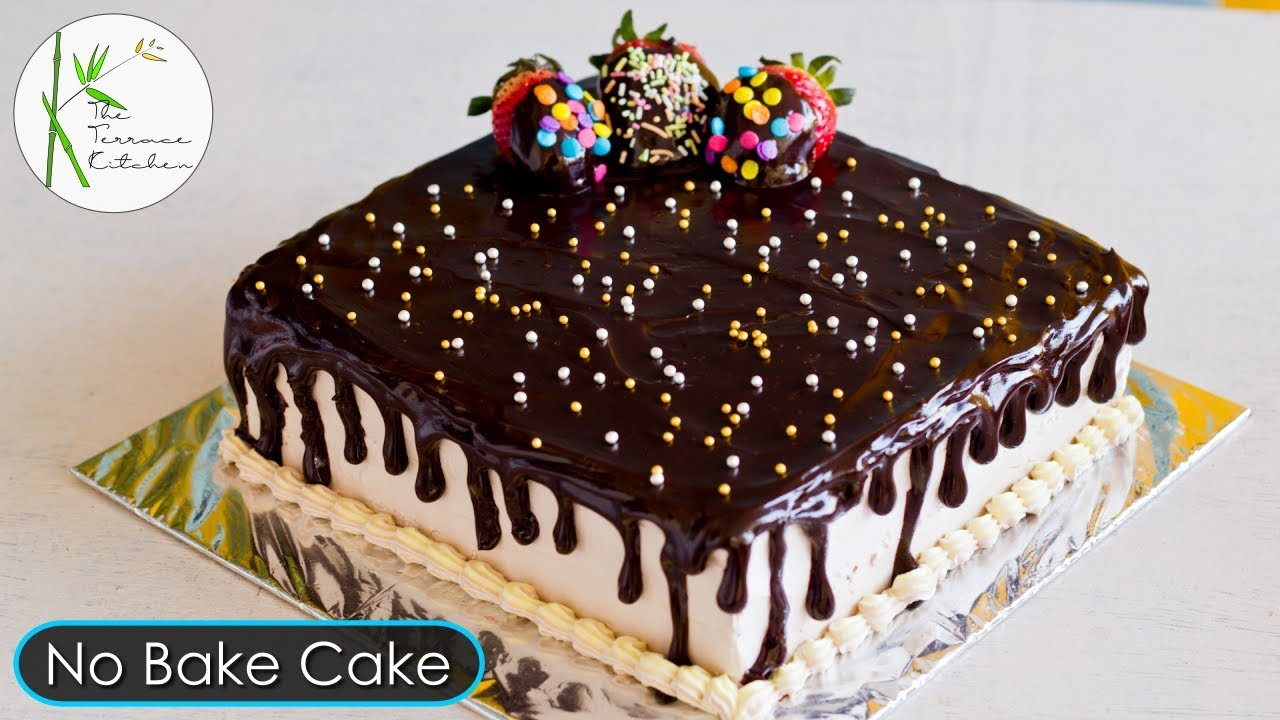 No Bake Chocolate Cake   Instant Chocolate Strawberry Cake   Bread Cake ~ The Terrace Kitchen