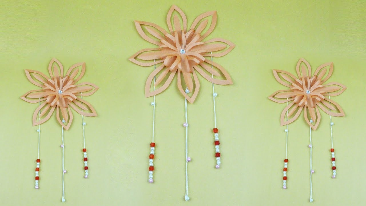 How to Make Origami Wall Decoration with Origami Flower & Beads ...