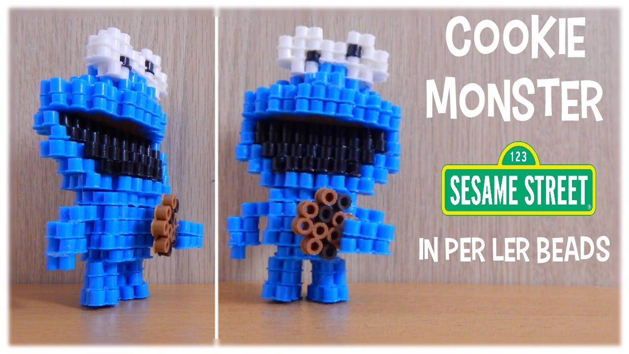 perler beads 3d tutorial cookie monster sesame street youtube