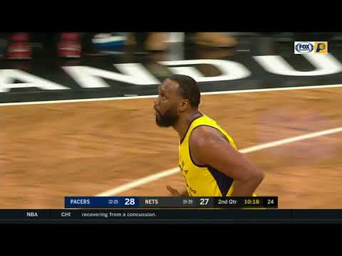 Al Jefferson fools defender with pump fake - Pacers vs Nets February 14, 2018