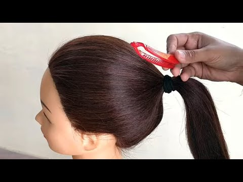 Easy French Roll Bun Hairstyle With Banana Clip    Easy Hairstyle Trick    Banana Clip Hairstyle    thumbnail