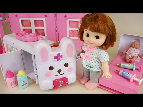 Thumbnail: Baby doll Rabbit ambulance Hospital toys play with Pororo