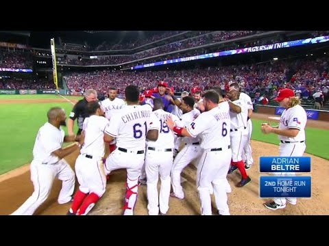Beltre crushes a walkoff tworun homer