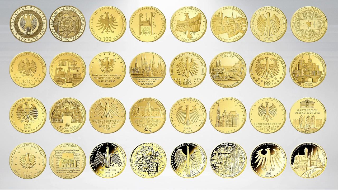 100 Euro Goldmünzen Der Bundesrepublik Youtube