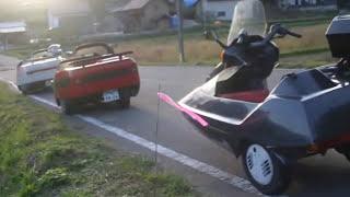 福島県を3台のサイドカーでツーリング オミクロンサイドカーカッパーサ...