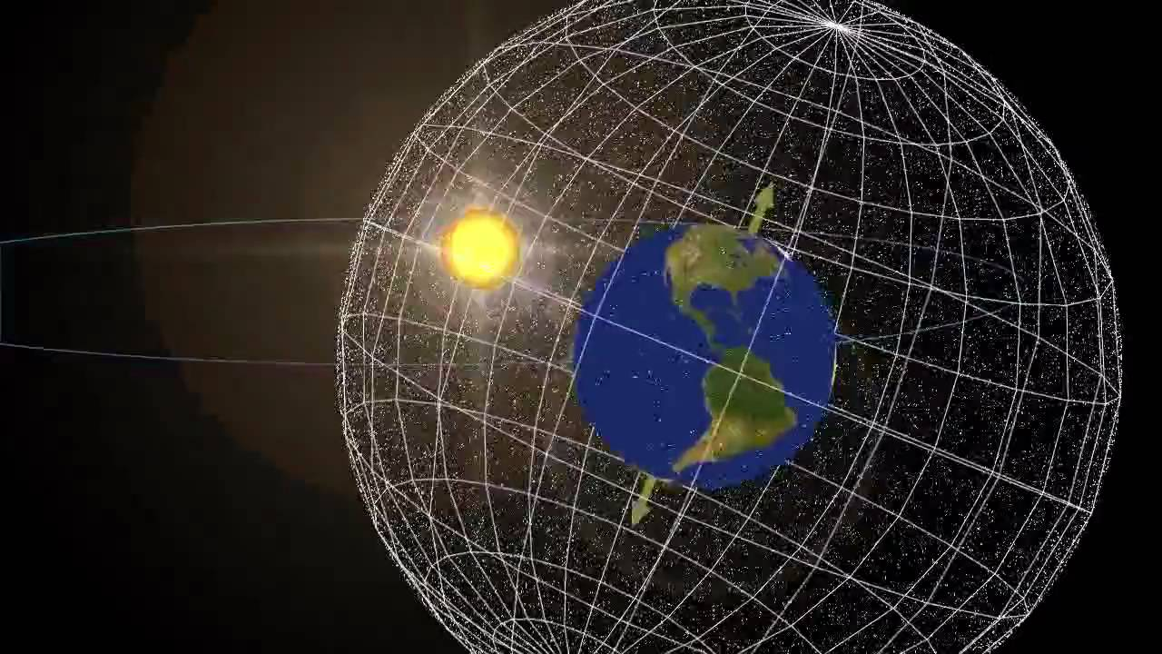 hight resolution of plane of the ecliptic tilted on celestial sphere