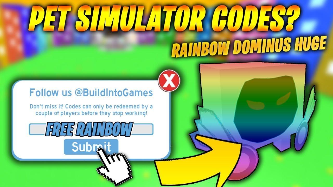 Rainbow Dominus Huge Codes In Pet Simulator Roblox Youtube