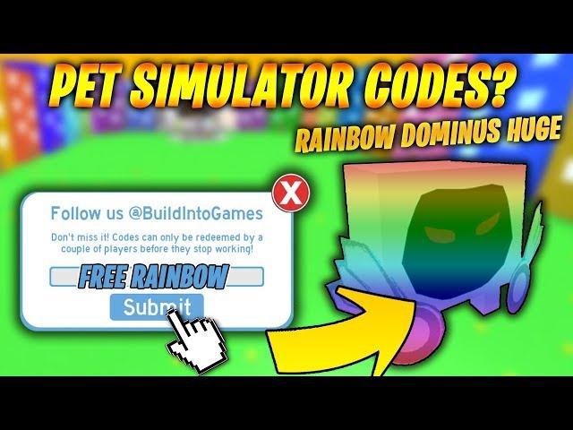 RAINBOW DOMINUS HUGE CODES IN PET SIMULATOR? (Roblox)