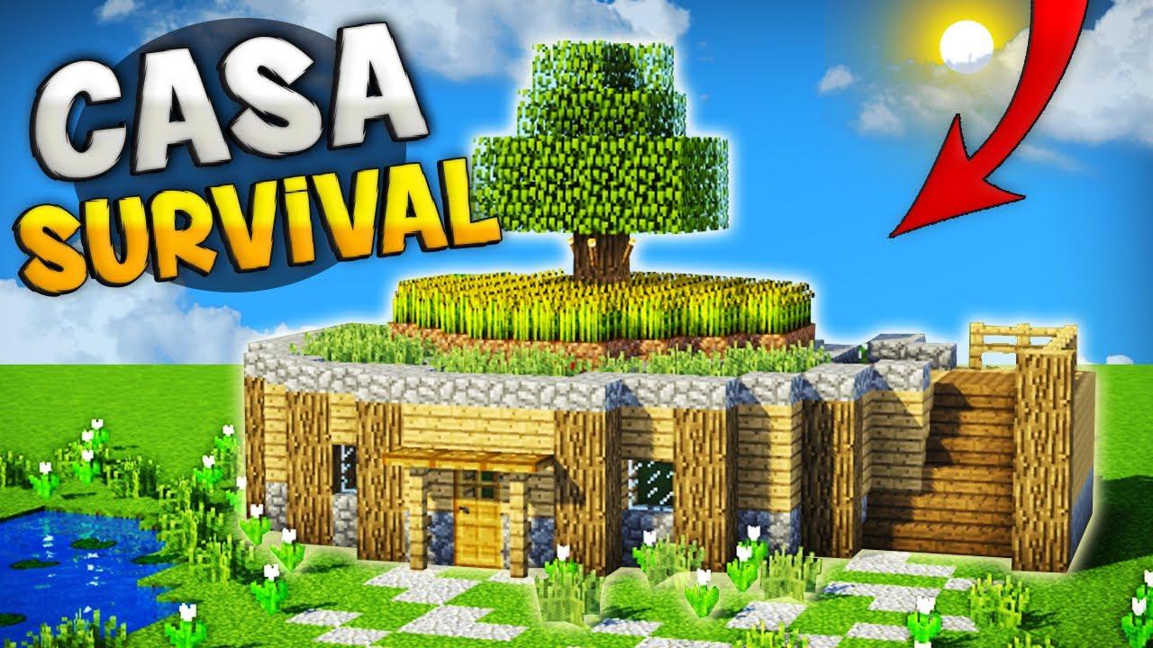 Minecraft como hacer una casa super survival con for Crear decoraciones para casa