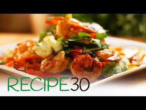 Thai Style Chili Shrimp on Warm Salad (Prawn salad)