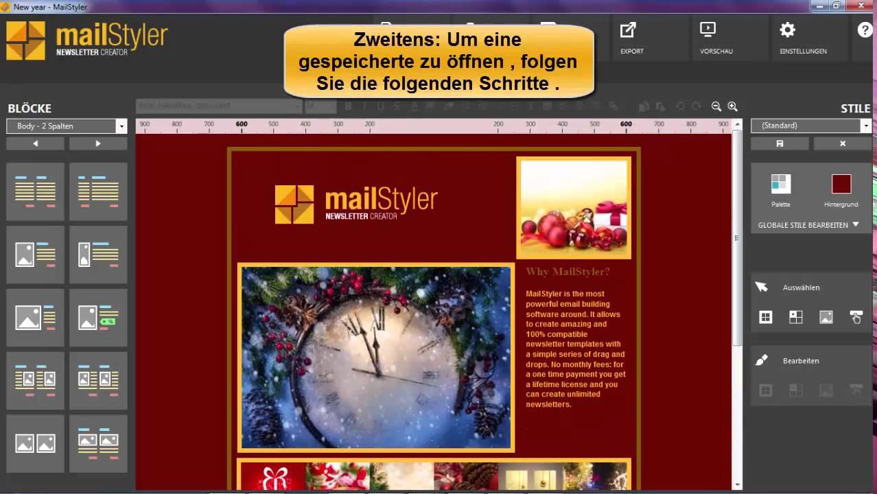 MailStyler - Wie man ein Newsletter-Vorlage speichern - YouTube