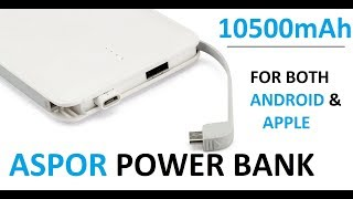 Aspor Dream Smart 10500mAh Real Capacity Power Bank Unboxing and Review