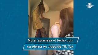 Liz San Millan grababa su práctica de canto para subirla a TikTok justo cuando su mamá atravesó el techo de la habitación. La joven asegura que su madre está bien después de la estrepitosa caída