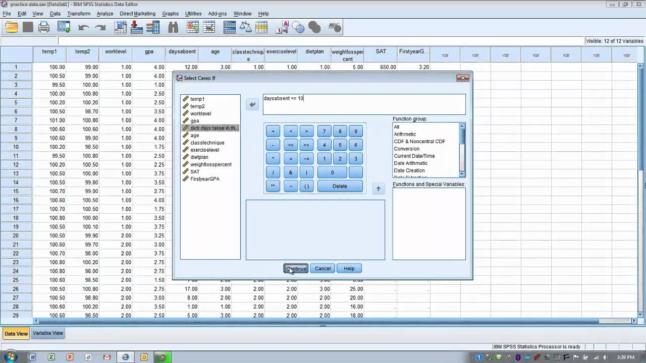How to Use SPSS: Select Cases