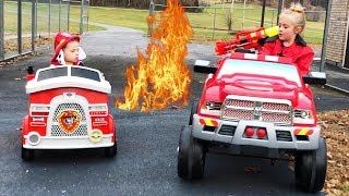 Marshall Fire Truck Ride on Rescue Mission to save a Paw Patrol Pup Pretend Play