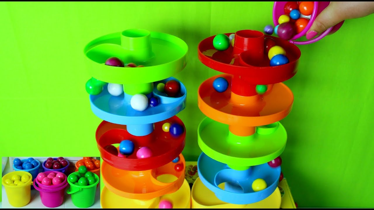 2 Toboganes De Juguete Con Bolas De Colores Toy Slide With Rainbow Balls Juguetes Infantiles Youtube