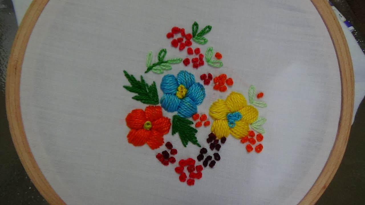 Hand Embroidery Padded Satin Stitch Youtube