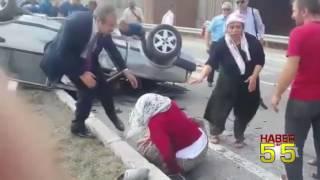 SAMSUN'DA OTOMOBİL İLE TRAKTÖR ÇARPIŞTI : 5 YARALI..!