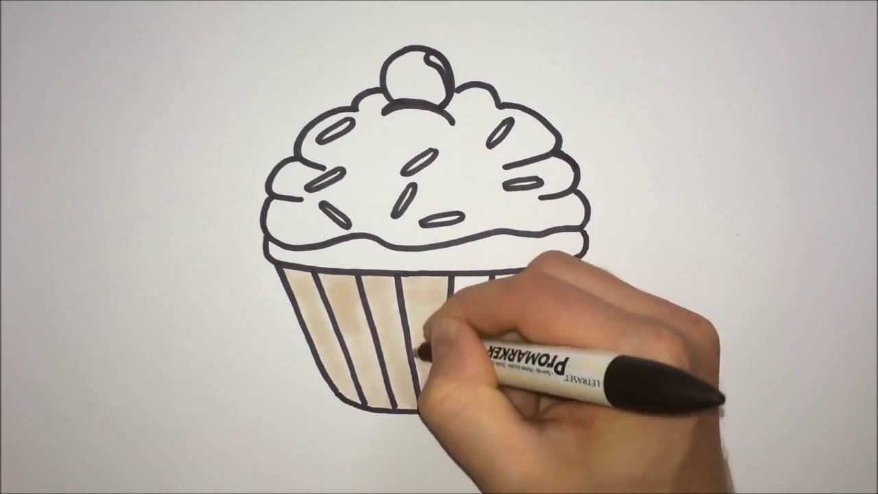 how to draw a cartoon cupcake step by step easy youtube