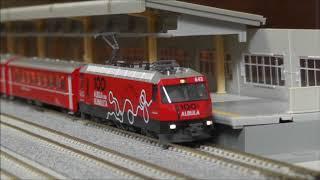 """KATO NOCH / RhB / GE4/4III """"100 Jahre Albula und Ruinaulta"""" /Einheitswagen I (EW I)/アルプスの赤い客車"""