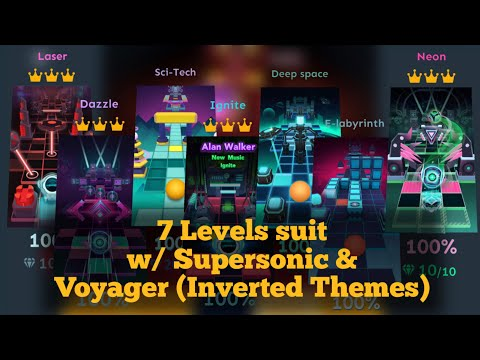 Rolling Sky Neon, Dazzle, Laser, Ignite, E-Labyrinth, Deep Space & Sci-Tech | Inverted Themes