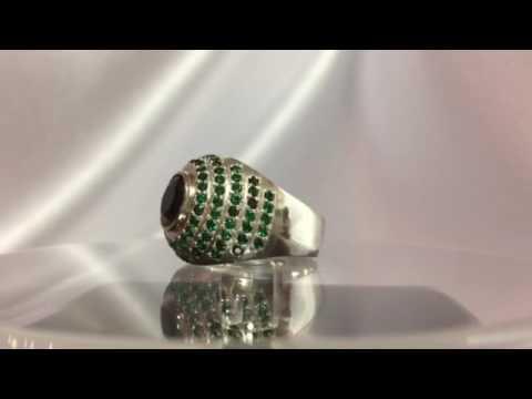 Серебряное кольцо с черным и зелеными камнями, красивое кольцо из серебра с камнями