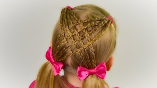 BACK TO SCOOL🎀Criss Cross Braid with ponytails. Quick and Easy hairstyle for girls #46