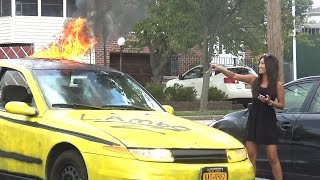 CRAZY CAR ON FIRE PRANK