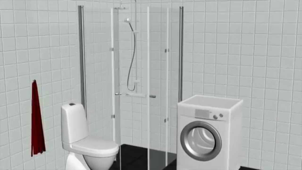 Vikbara duschväggar för trånga utrymmen - YouTube
