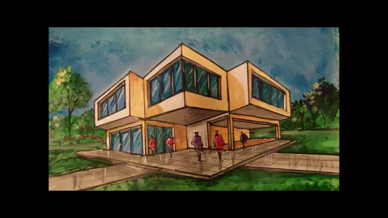 Perspectiva nivel b sico arq david sosa youtube for Como hacer una fachada minimalista