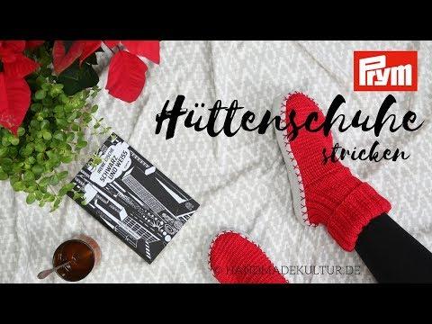 new product 9ea68 bc407 Hüttenschuhe mit Ledersohlen stricken - YouTube