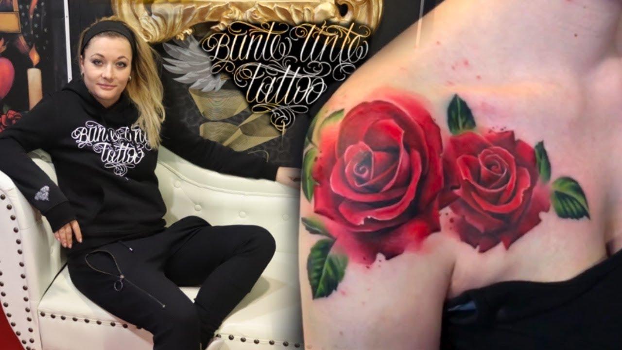 Rosen Tattoo aufs Dekolleté von Lui - YouTube
