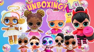 LOL Surprise Dolls Glitter Glam & Lil Sisters Unboxing! With Sugar, and Spice!   LOL Dolls Families