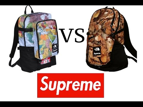 5086b3b6 SUPREME TNF MAPS BACKPACK & SUPREME TNF LEAVES COMPARISON - YouTube