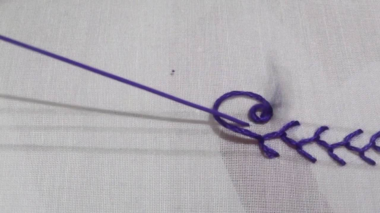 Embroidery Stitch Feather Stitch Embroidery Youtube