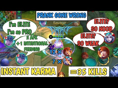 PRANK GONE WRONG | INSTANT KARMA | 3 AFK +1 INTENTIONAL FEEDING | MOBILE LEGENDS