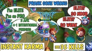 PRANK GONE WRONG | INSTANT KARMA | 3 AFK +1 INTENTIONAL FEEDING | MOBILE LEGENDS