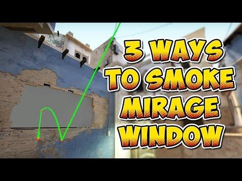 CS:GO - 3 Ways To Smoke Mirage Mid Window (2 from T-Spawn)