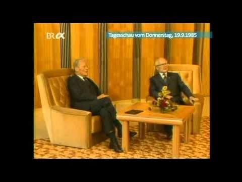 Willy Brandt bei Erich Honecker 1985 (Tagesschau)