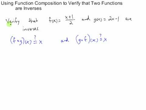 Using Composition To Verify Two Functions Are Inverses Youtube
