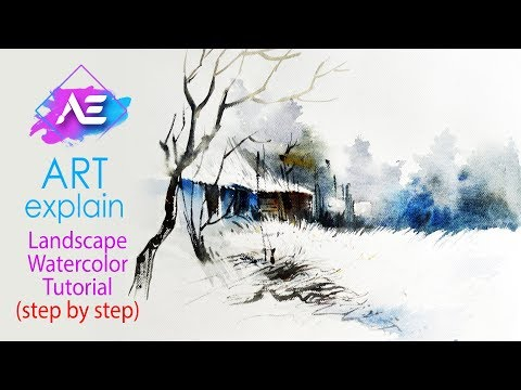 Snow Landscape Watercolor Painting Tutorial | How to paint a watercolor landscape | Art Explain
