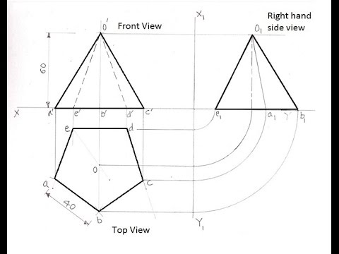 3.11-Orthographic Projections of a Pentagonal Pyramid
