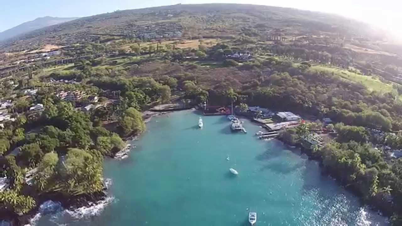 Drone Scenic Aerial View of Keauhou Bay - Kona, Big Island, Hawaii