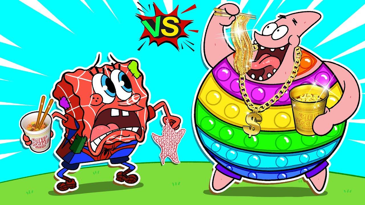 Spongebob But POP IT❗Rich vs Poor Superheroes🦸♀️ Spongebob Mukbang Animation | SLIME CAT