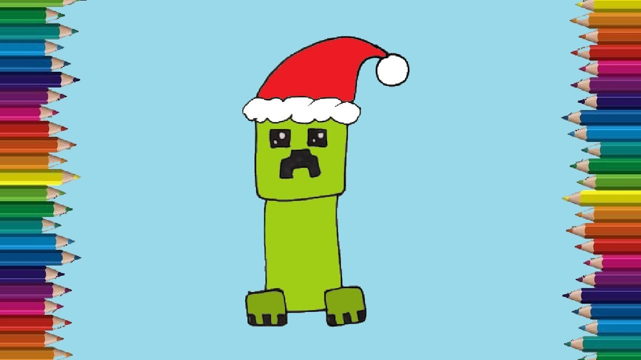 How To Draw A Creeper From Minecraft Christmas Step By Step Creeper Drawing Easy For Beginners