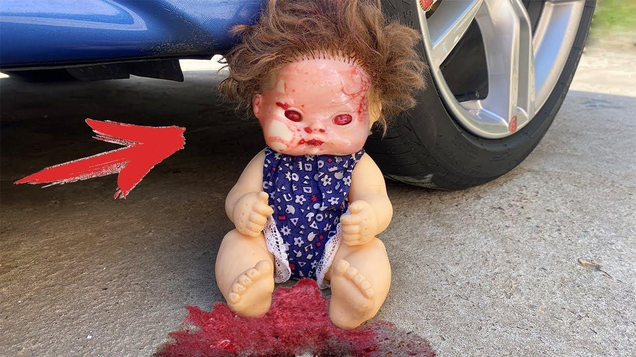 Experiment Car vs Evil Doll - 2! Crushing Crunchy & Soft Things by Car