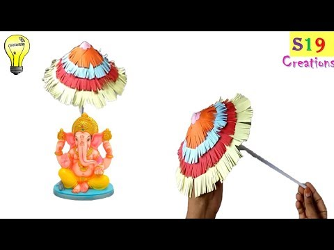 how to make an easy umbrella for ganesh chaturthi | paper umbrella | ganesh chaturthi